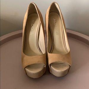 Tan peep toe heels